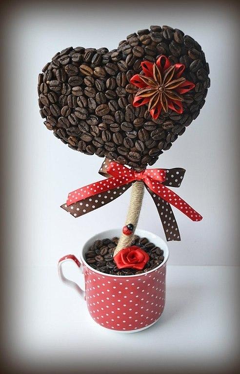 топиарий из кофе сердце